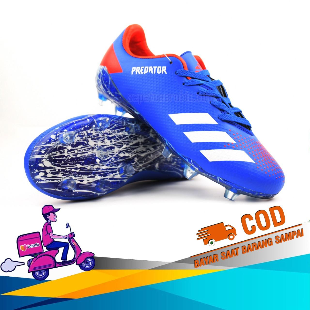 Sepatu Bola_Adidas_Predator Blue Red Terbaru Termurah