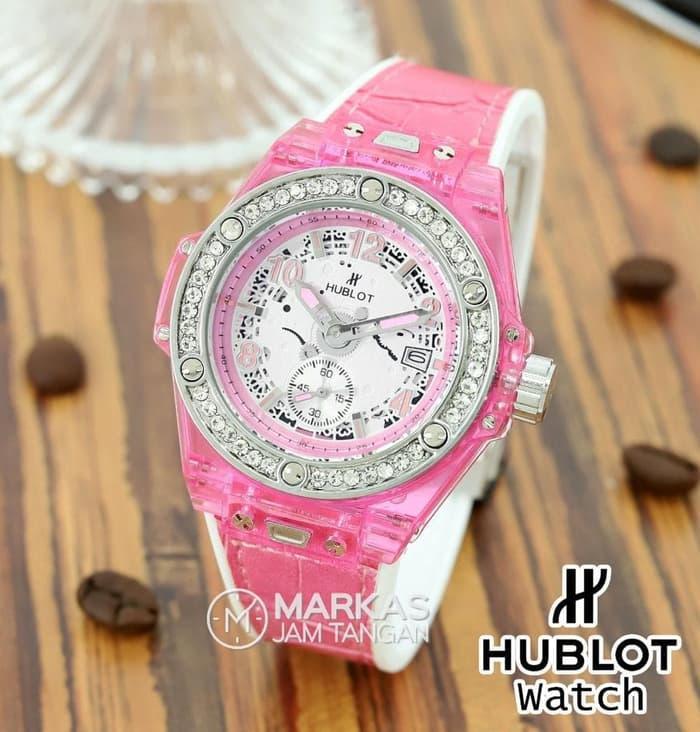 Jam Tangan Wanita HUBLOT Big Bang Ring Diamond Leathers Strap Watch