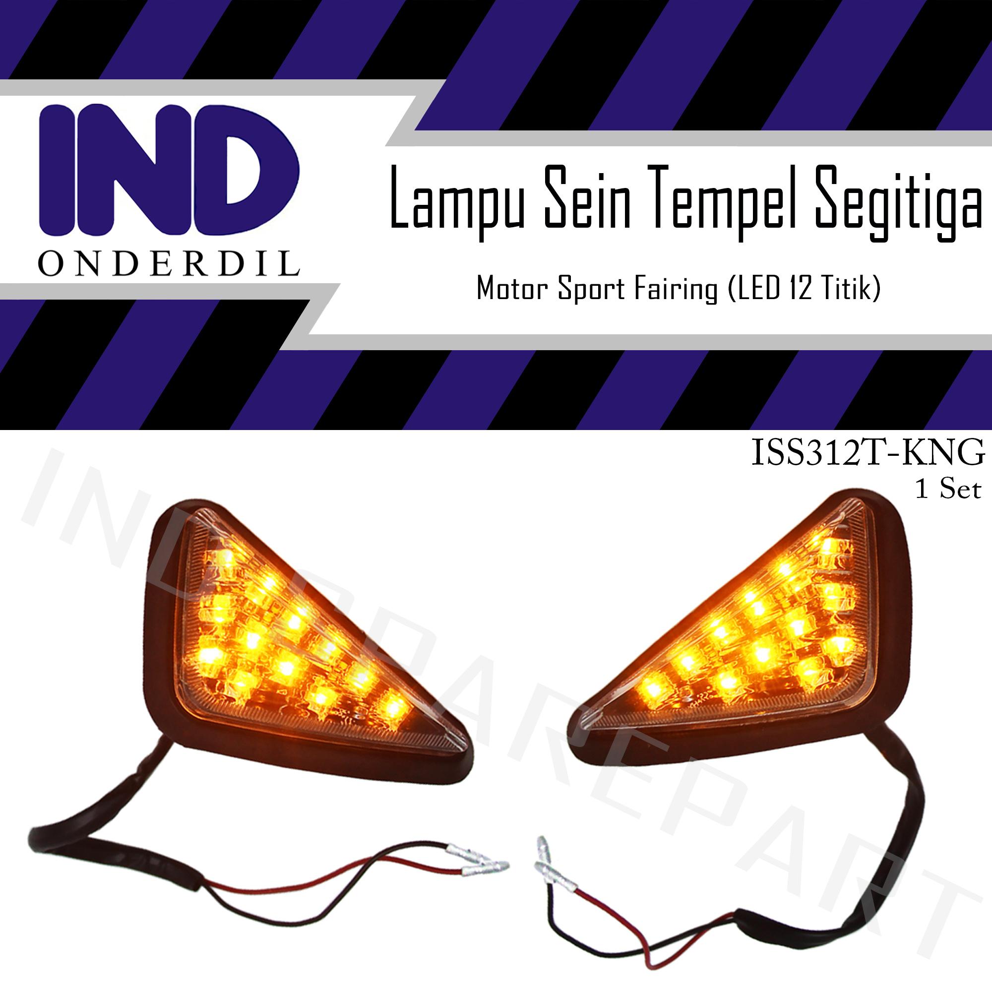 Lampu Sein-Sen-Sign Ritting-Riting-Retting-Reting Tempel Segitiga-Segi Tiga LED Kuning Motor Sport Fairing Ninja 150 R-RR/CBR 150-250/GSX/R15/R25 V1-V2-DLL