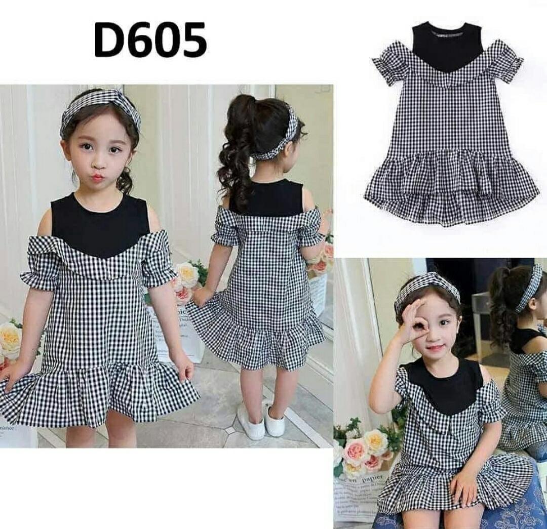 Ema Shope - Pakaian Dress Anak Perempuan Chila Kotak 100% Katun / 2-4thn / High Quality / Best Sell