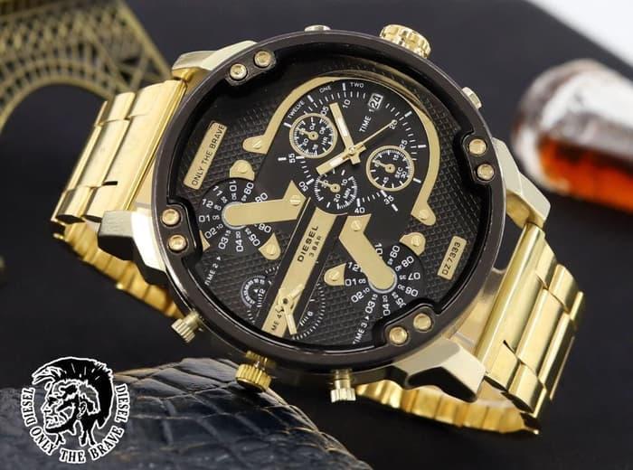 BEST SELLER VALENTINE Jam Tangan Pria   Cowok Diesel Big Rantai Gold 4e87440a27