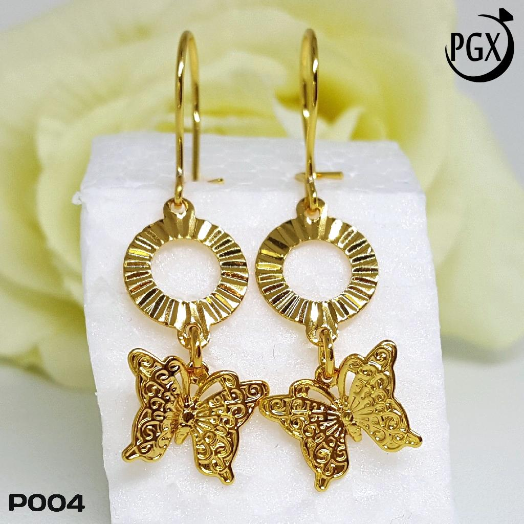 Anting Xuping Bulat Dewasa Set Perhiasan Lapis Emas .
