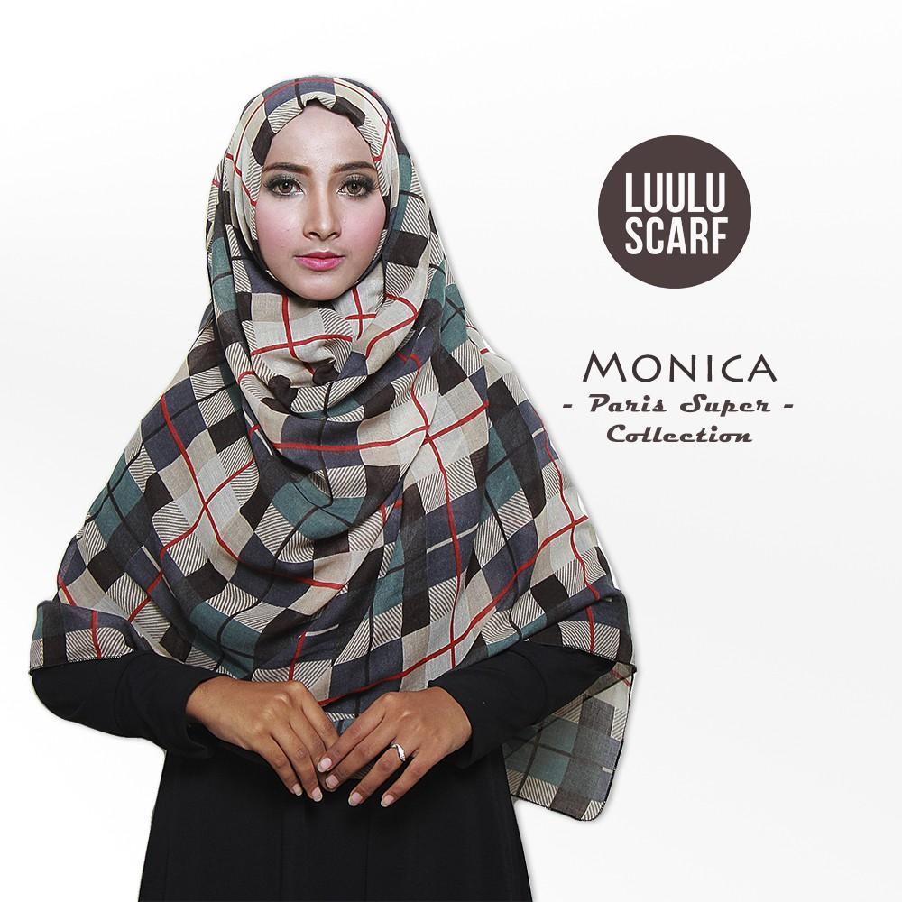 TERLARIS!!! Luulu Scarf - MONICA - Jilbab Pashmina Motif Import Katun