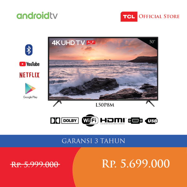 TCL LED 50 inch Dukung 4K Smart Android Google assistant DTV Smart TV (WIFI) 4K Resolution L50P8M [ Free Smart remote control ]