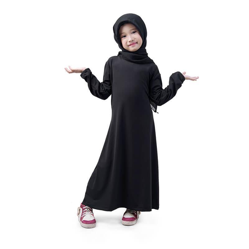 BAJUYULI - Baju Muslim Gamis Anak Perempuan Murah Polos Basic Jersey - Hitam