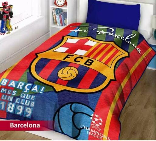 Selimut Motif Bola Barcelona 3D Kualitas Import ukr 150x200 100% POLIESTER