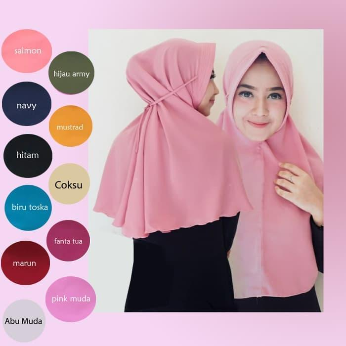 jilbab/hijab khimar pet instan simple pet tali