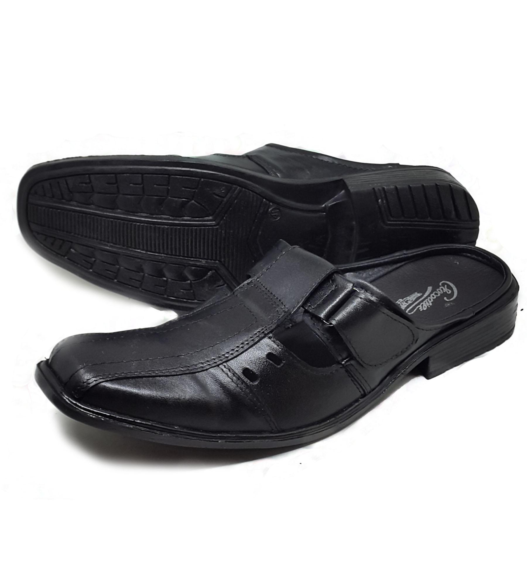 Sepatu Selop Kwl Sandal Selop Lancip Pria Kulit Asli- Black By Arjun Shop.