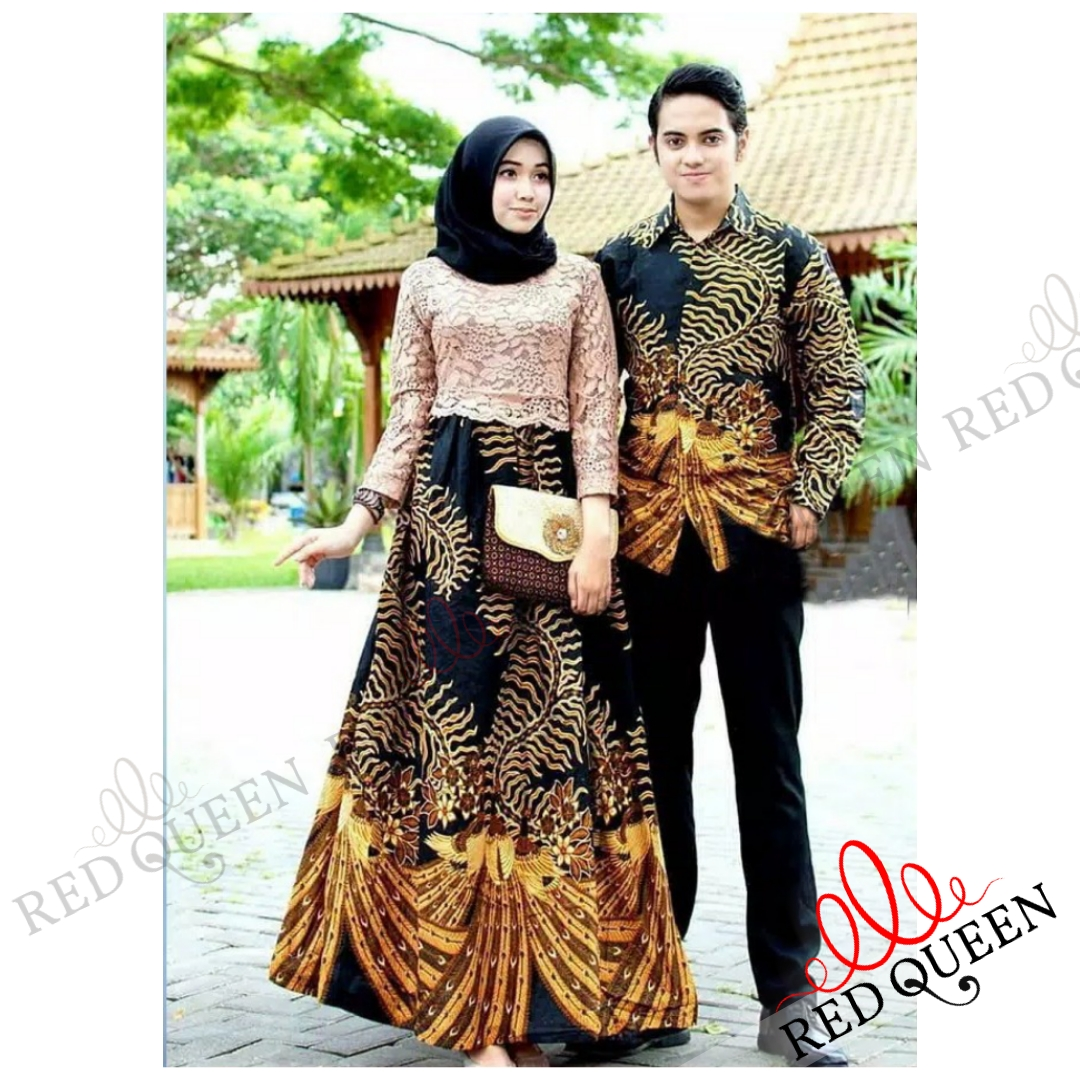 Baju Couple Muslim Gamis Batik Brukat// Baju Pesta Acara Resmi Formal  Resepsi Pernikahan // RED QUEEN BUTIK RQ8