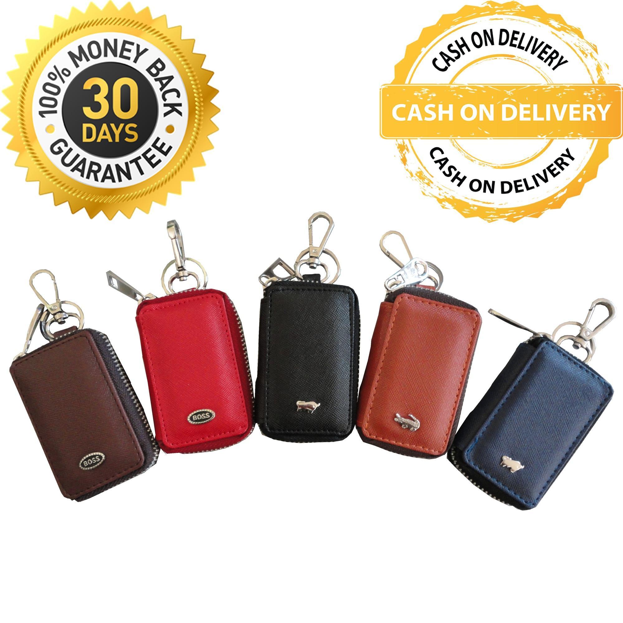 Dompet Gantungan Kunci Mobil Motor STNK Resleting Motif Logo Bermerk Branded Key Wallet - Random
