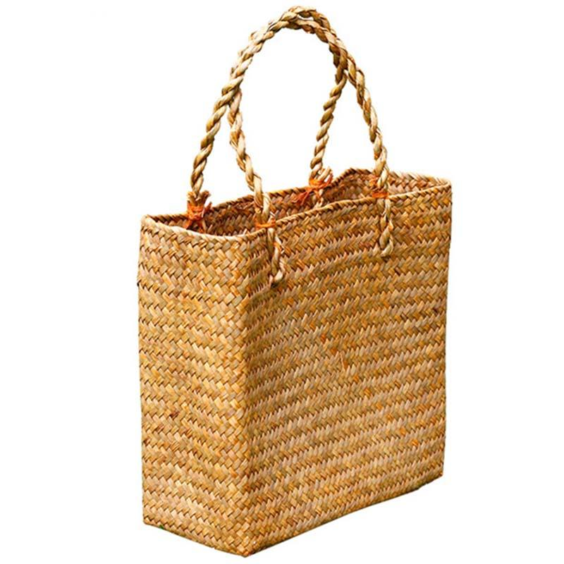 Fashion Straw Summer Women Beach Handbags Female Flap Handbags Designer Lady Retro Rattan Handmade Tote Bag(Yellow)