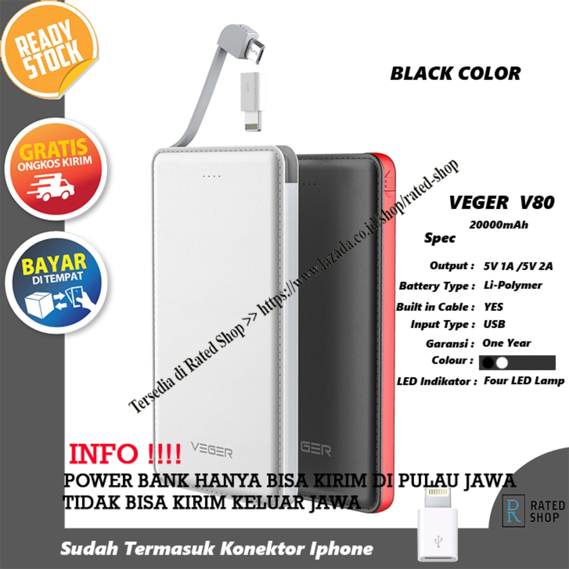 Veger V80 Power Bank Slim 20000mAh - Hitam
