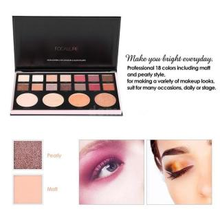 FOCALLURE 18 Colors Makeup Eyeshadow Highlighter and Blusher Palette Matte Shimmer Metallic Eye Shadow Smokey Blush on Nude Cosmetics Glitter Eyeshadow The Needs All in One Palette thumbnail