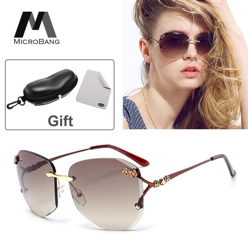 bb58b219414c MicroBang Sunglasses Women Eyewear Accessories Fashion Shades Sun Glasses  With-Box Square Oversized Rimless Diamond