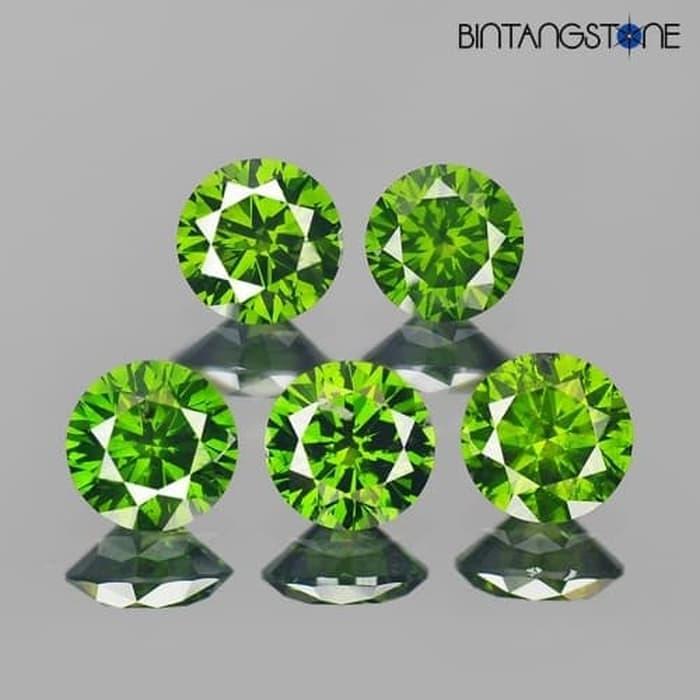 Lot 5 Pcs Green Diamond 1.3 Mm 0.01 Cts Clarity Vs-I Natural Africa Berlian Asli Wholesale By Bintang Stone.