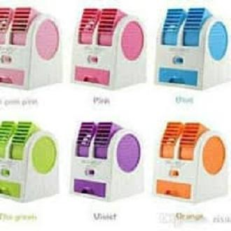 SMALL Mini Fan Air Conditioning - AC Duduk Double Mini Fan - AC Portable Double Blower Kipas Mini USB - BIRU