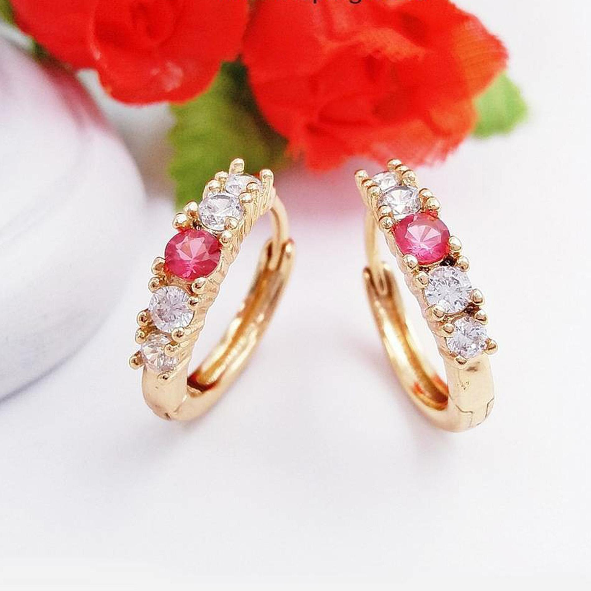 RAKA Acc - Anting Clip Model Merah Putih Xuping Gold Perhiasan Cantik Wanita Lapis Emas 18k