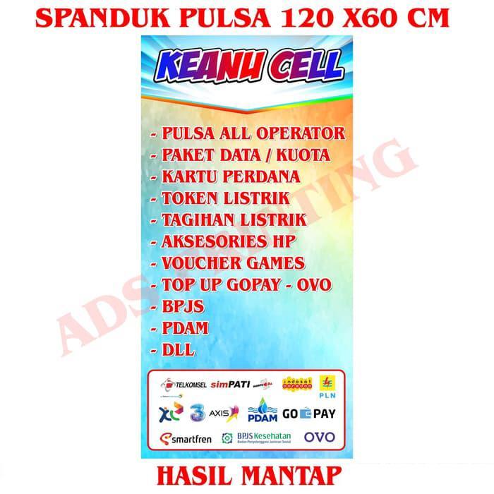 Spanduk Banner Konter Pulsa Ukuran 60cm X 120cm Model A Nama Bisa Di Ubah Lazada Indonesia