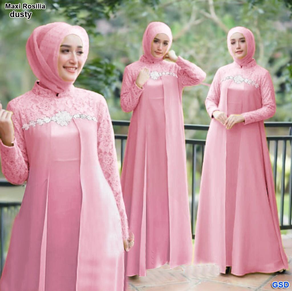 Jfrendfashion Gamis Shanghai Renda Bunga Fit L Baju Brokat Kondangan Ibu Wanita Busana Muslim Wanita Maxi Rosilia Lazada Indonesia