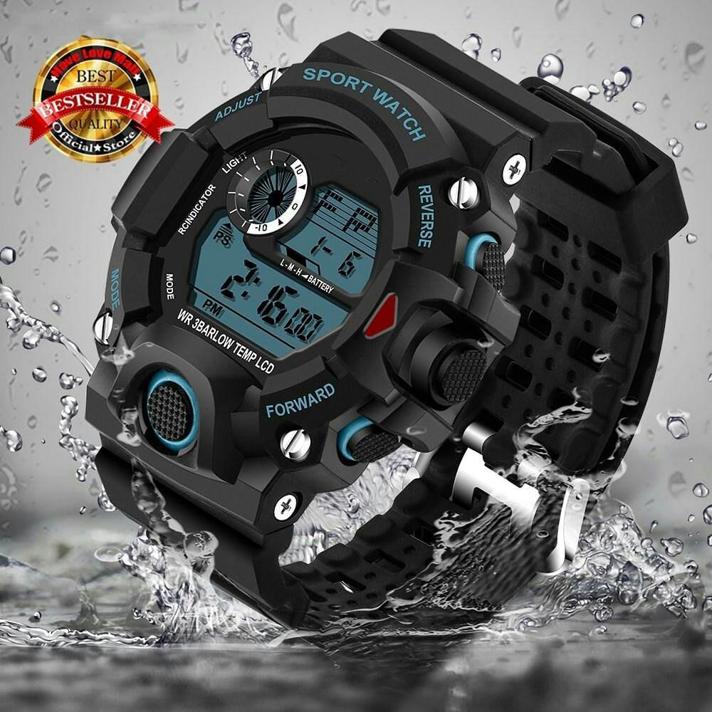 Original sport 1384 Jam Tangan Pria Army Sport Digital LED Silikon PU 54 mm - Anti Air 50 M Renang - Water Resistant Watches