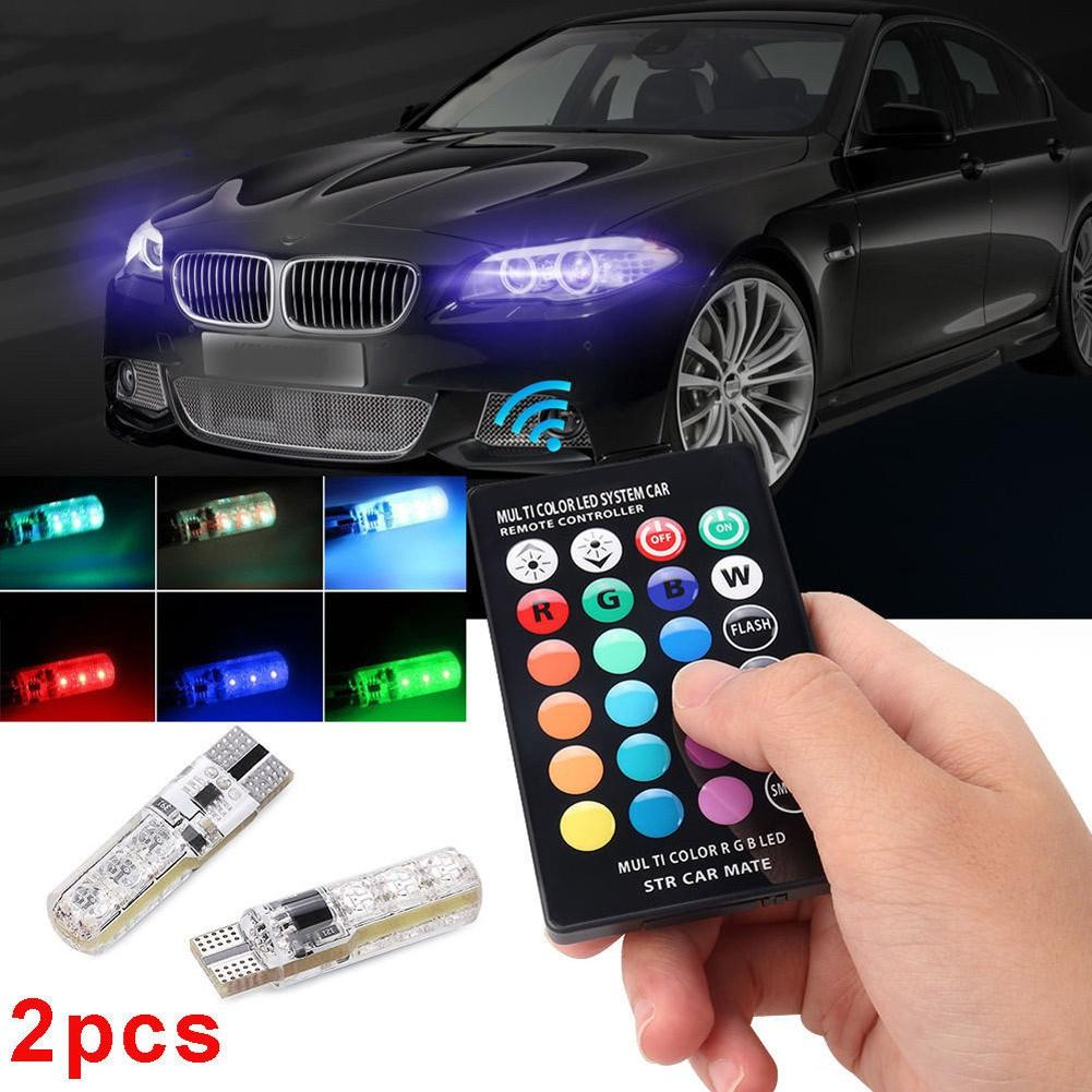 Lampu LED T10 Remote Wireless RGB Lampu Kota Senja Motor Mobil