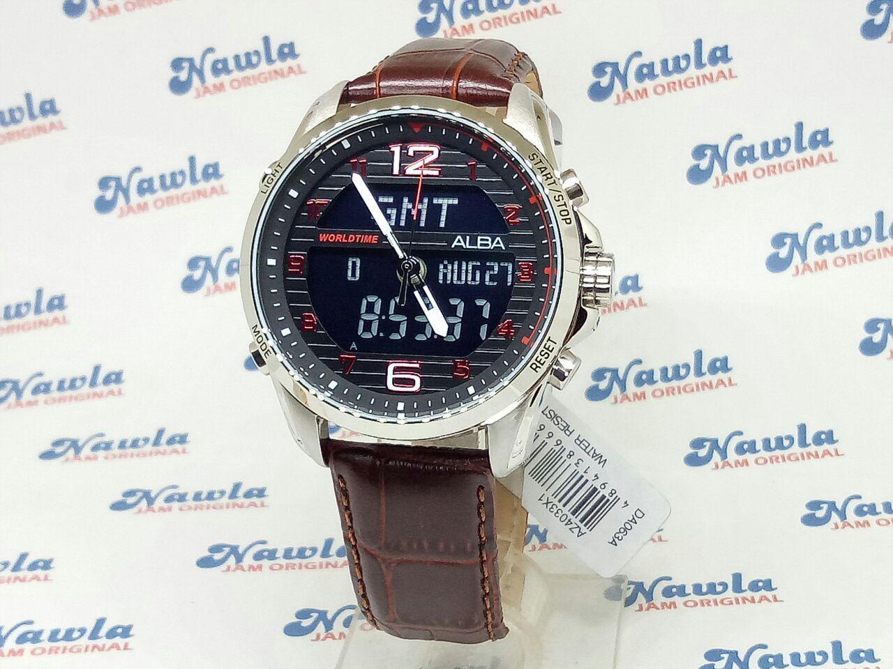 Alba Digital AZ4033X1 World Time Brown Leather Jam Tangan Pria AZ4033 6aed151514