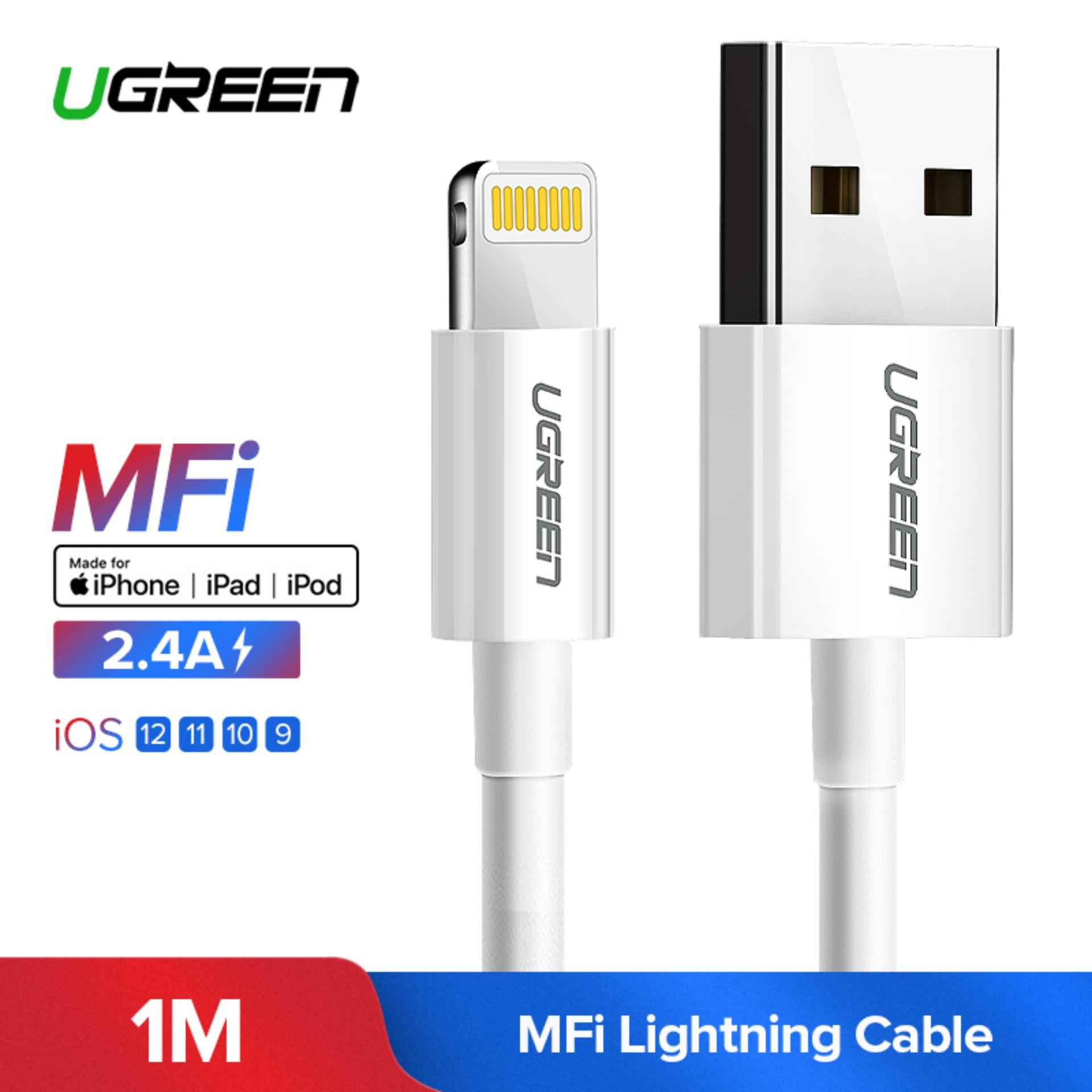 UGREEN Original Kabel 1Meter lightning MFi Kabel Fast Charging Data Cable for Apple iPhone 5s, iPhone 6s, iPhone X, iPhone 7plus, iPhone 8plus, iPhone X MAX,  iPod iPad White