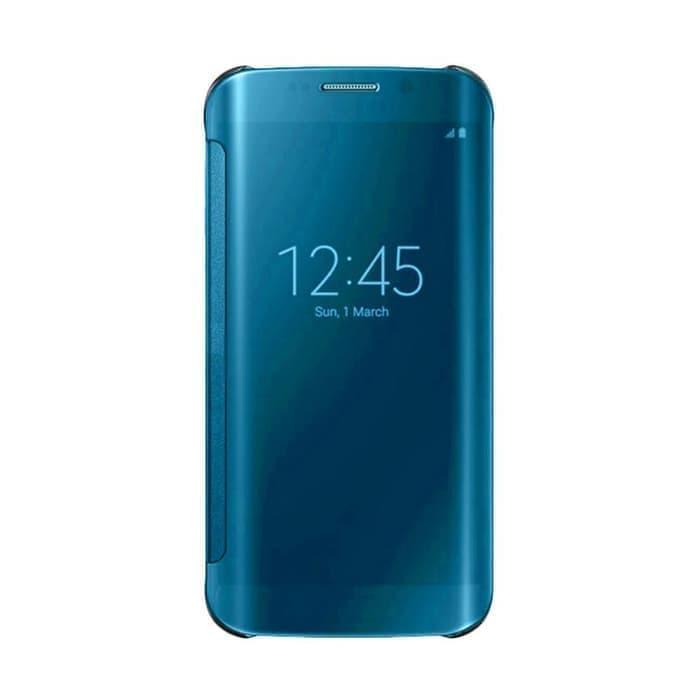 Wallet Mirror View Flip Cover Oppo Realme C1 - Biru