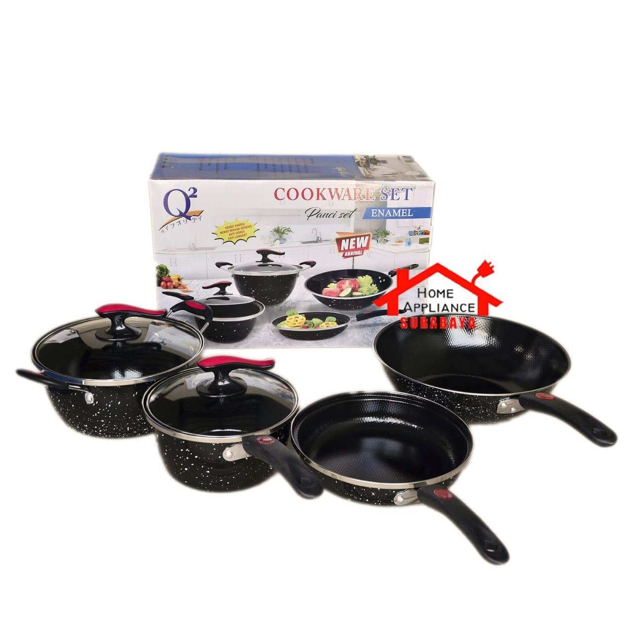 Panci Wajan Penggorengan Goreng Serbaguna Cookware Set Enamel 6 PCS Q2 8830 / Q2-8830