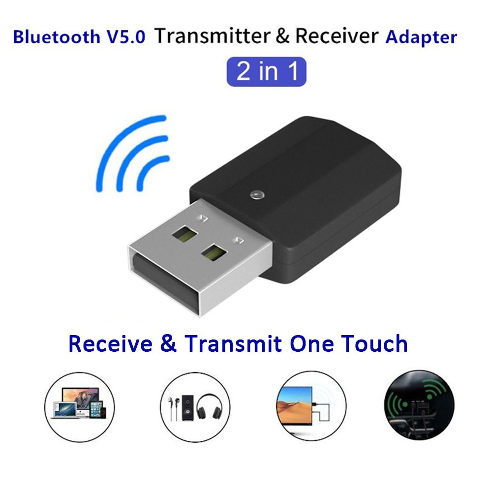 Versea 2 in 1 USB Bluetooth 5.0 Transmitter Receiver 3.5mm AUX Audio Adapter PC Headset TV
