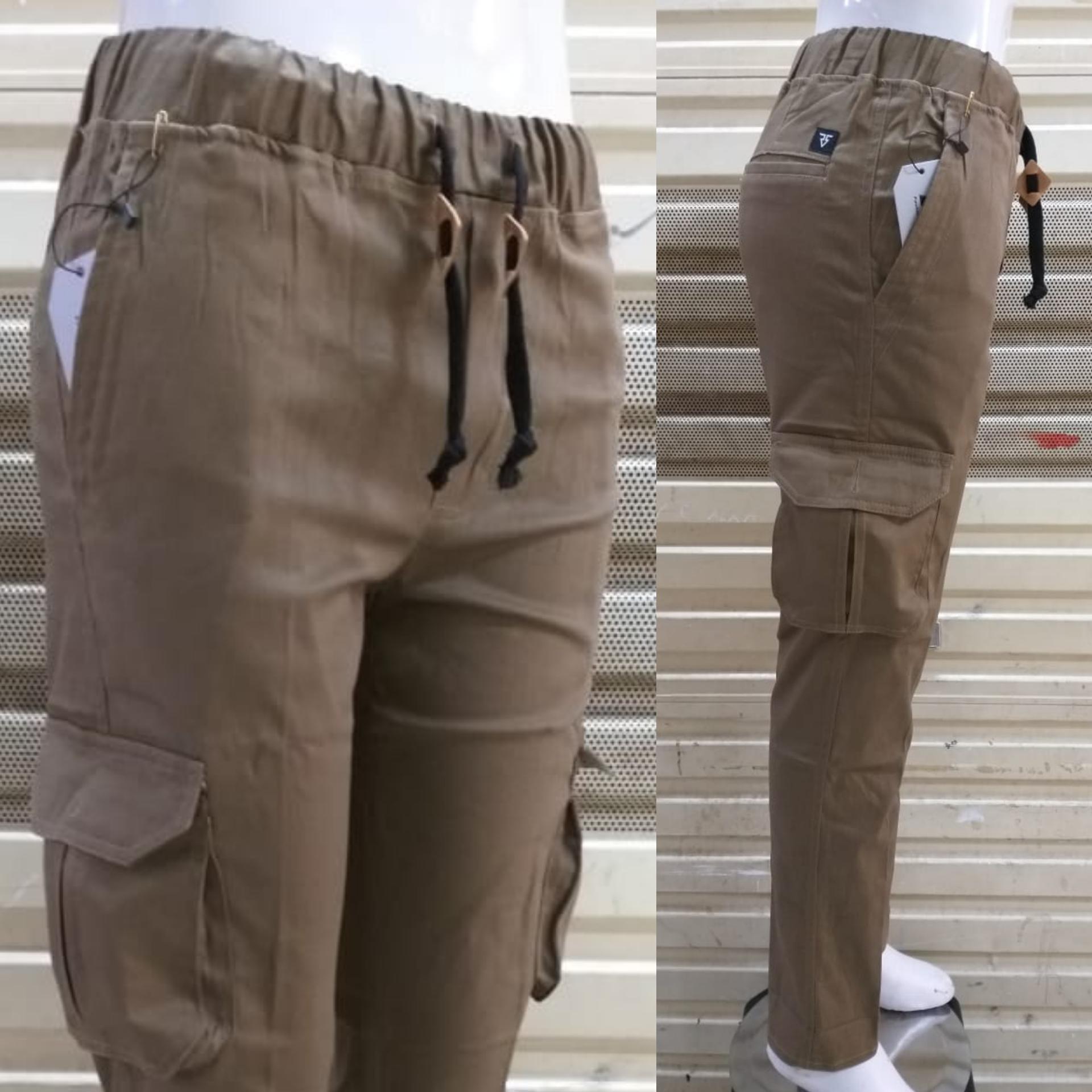celana panjang cargo wanita bahan cotton strecth/melar kantong samping model slimfit bagus murah
