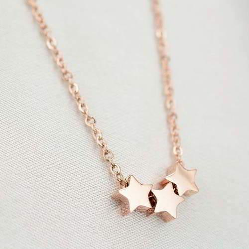 Kalung Korea Minimalist Triple Stars Simple Titanium Steel Rose Gold Plated 18k Br1i40 By Toko Susu.