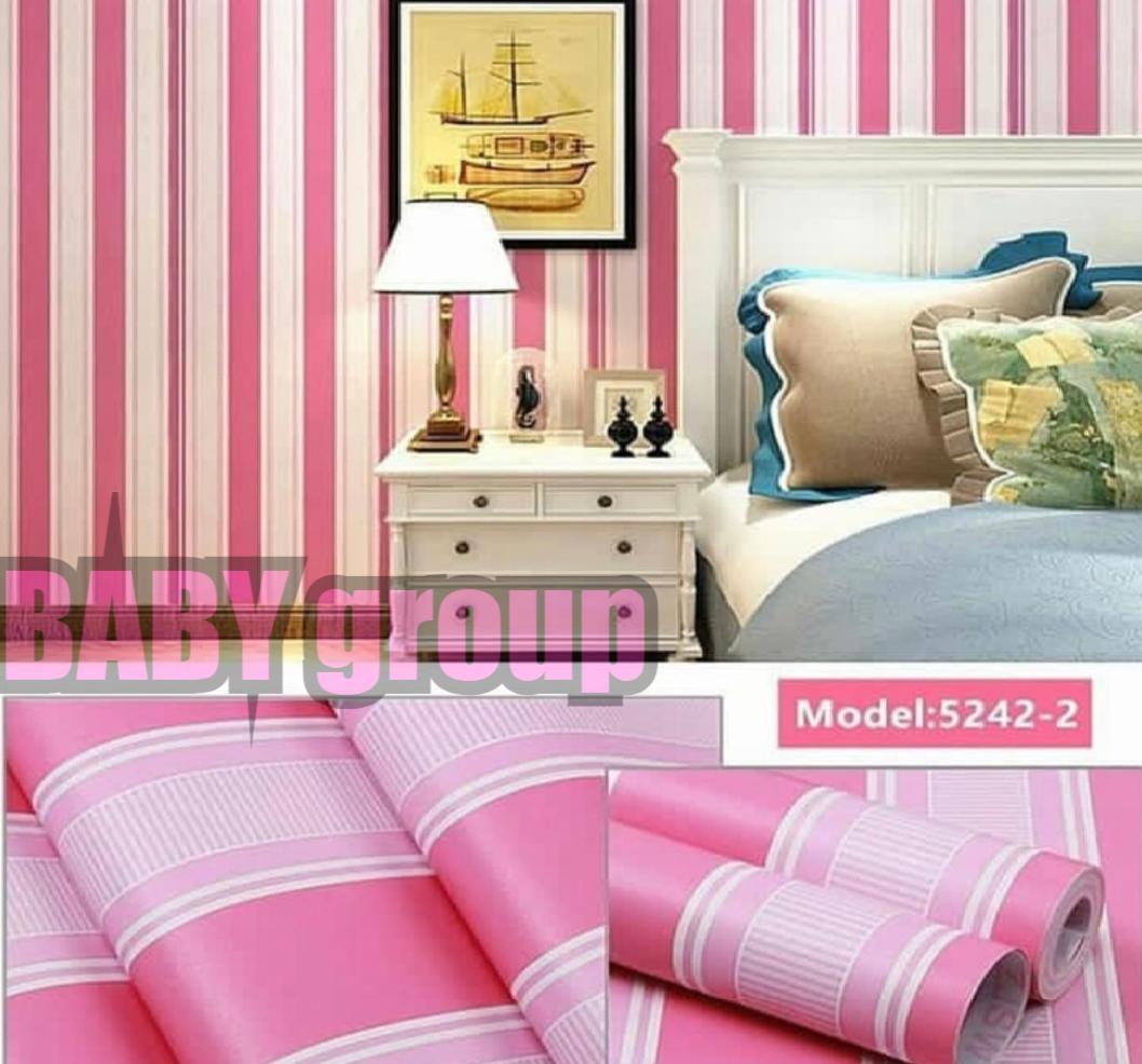 Wallpaper Stiker Dinding Motif Dan Karakter Premium Quality Size 45cm X 10M Salur Pink Baby096