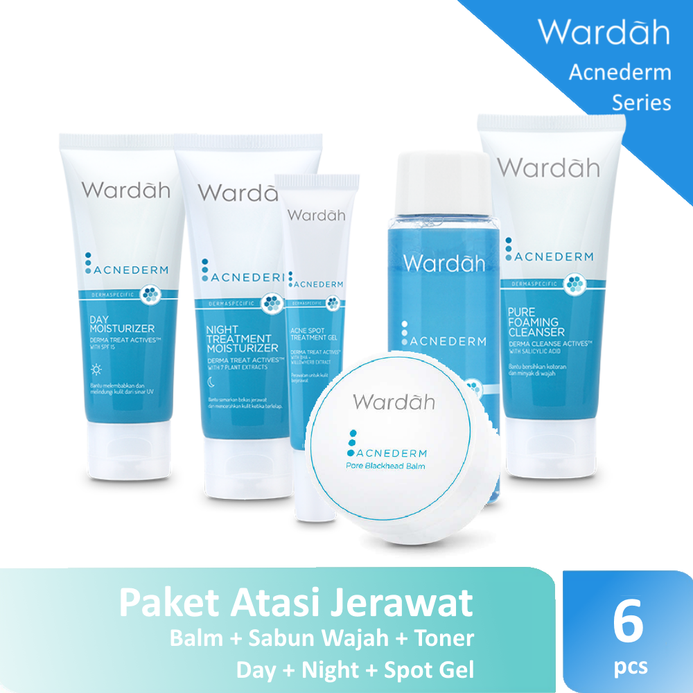 Wardah Acnederm Paket Jerawat - 6 Pcs ( Balm + Toner + Day Moisturizer + Pure Foaming Cleanser + Treatment Gel + Night Treatment Moisturizer )
