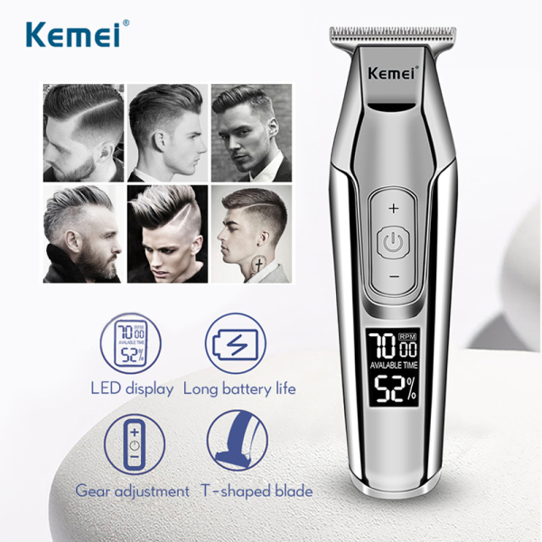 Qooiu Kemei KM-5027 Rechargeable Hair Clipper Professional Trimmer LCD Display 0mm Baldheaded Beard Trimmers Mens Electric Hair Cutting Machine USB Can Use Carbon Steel Cutter Head DIY Hair Styling Tools