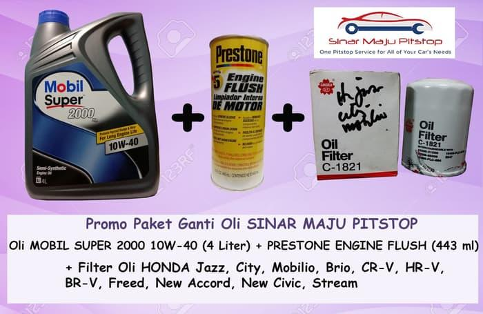 Paket Ganti Oli HONDA JAZZ - MOBIL SUPER 10W-40 SN & FLUSH & FILTER