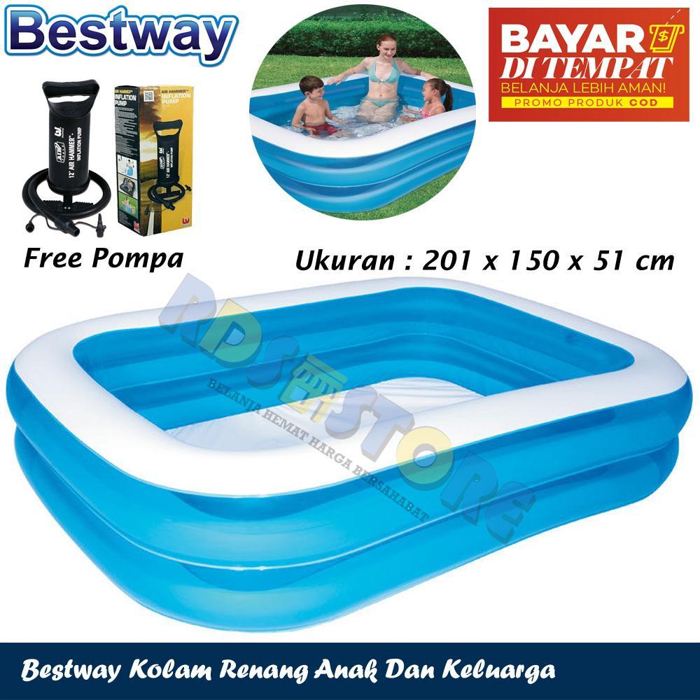 Bestway Kolam Renang Jumbo Anak Dan Keluarga Ukuran Besar Family Pool 201 Cm Pompa