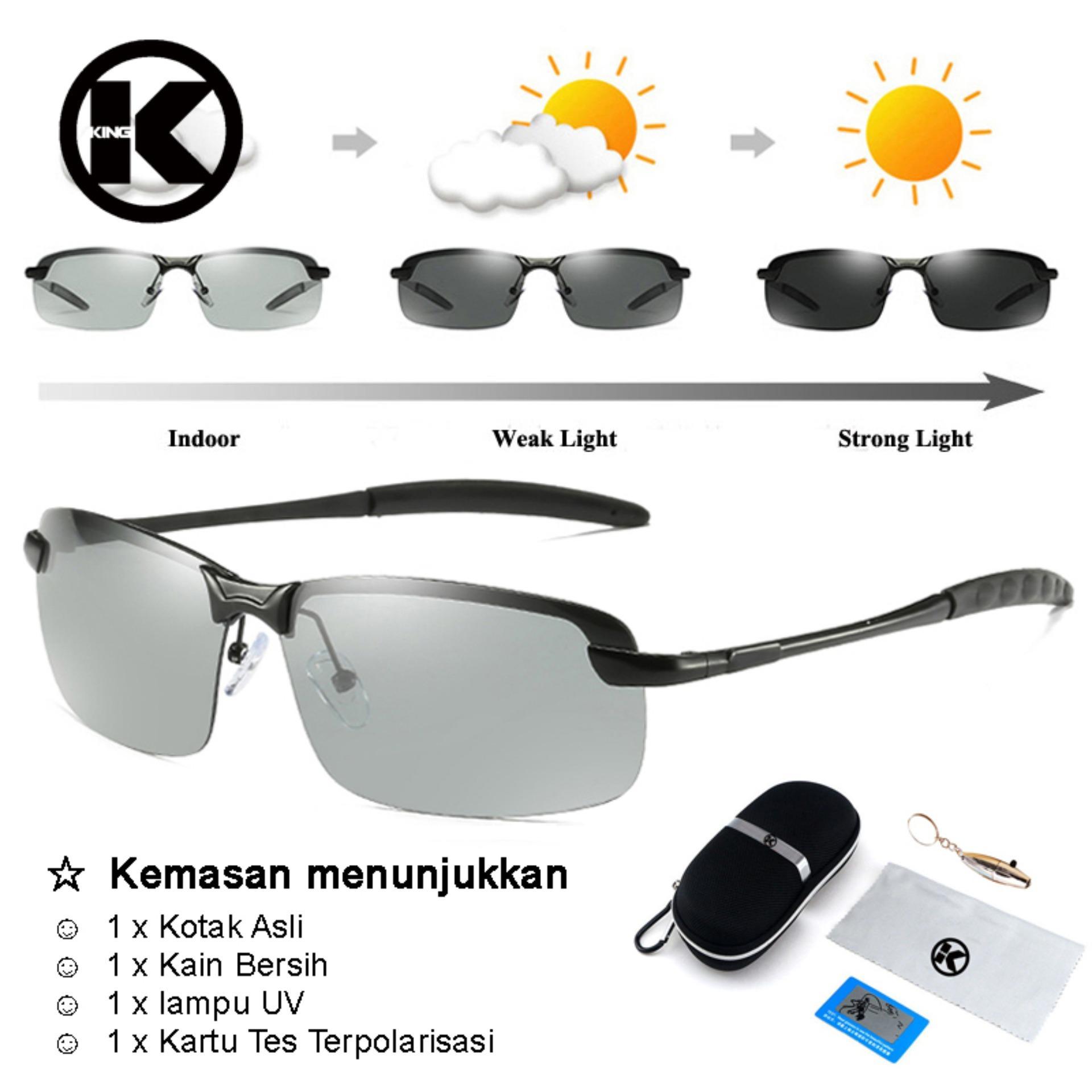 Pria Kacamata Fotokromik Pria Terpolarisasi Perubahan Warna Kacamata HD Pria Anti Silau Kacamata Mengemudi Kacamata Desain