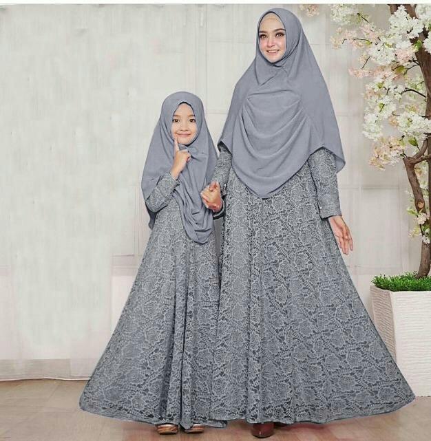 Muslim Hijab Store Mom N Kid Couple Yordania Jersey+Brukat HV Gamis Anak+ Gamis 670d276eab