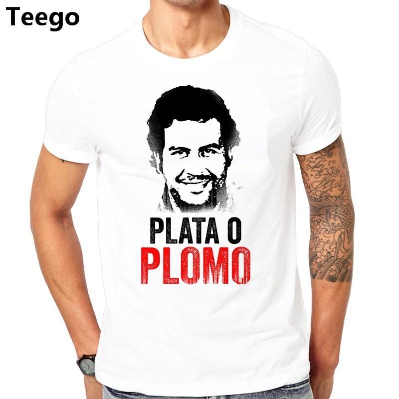Belanja Online Untuk T-shirt 2017 Plata O Plomo Narcos Pablo Escobar Perak Atau Memimpin Murah T Shirt Hop T-Shirt Pakaian Lucu