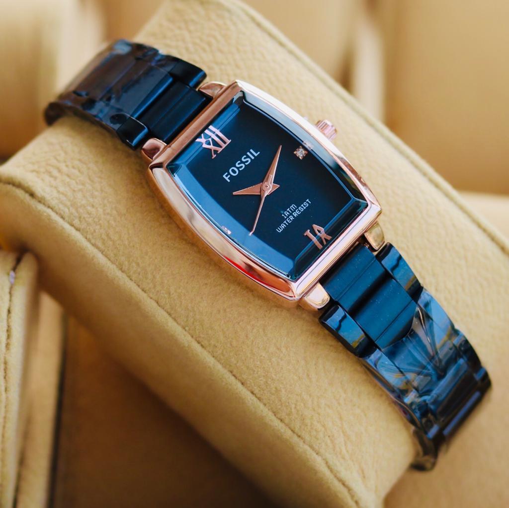 jam tangan fossil wanita rantai Stainles strap simple (COD)