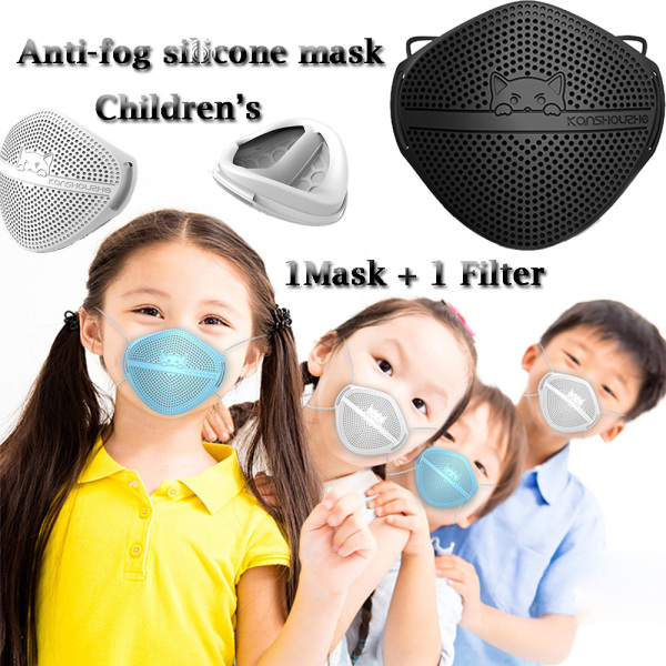 【In Stock】Childrens Adults Mmask Kn95 Mouth And Nose Separation Mmask Anti-Fog Haze Dustsilicone Can Be Cleaned + Changed Filter (Black/White)