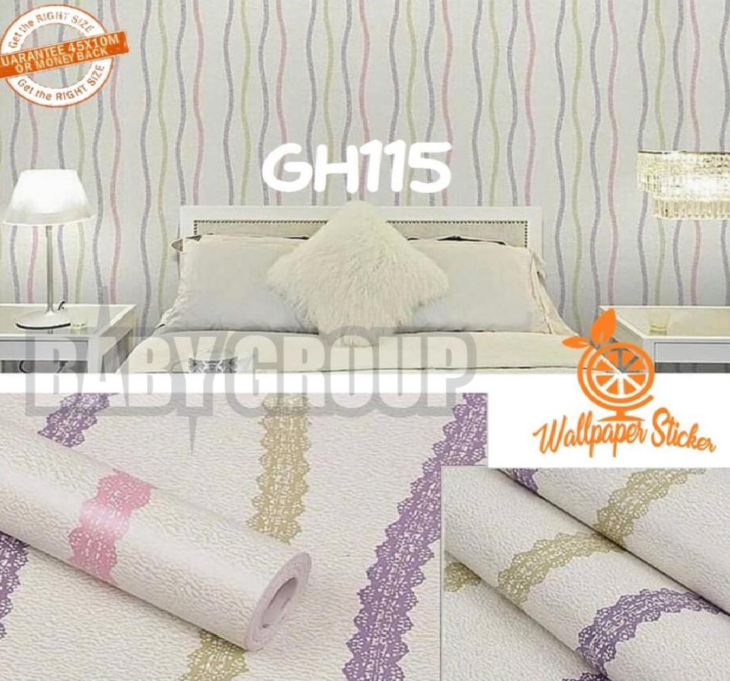 Wallpaper Stiker Dinding Motif Dan Karakter Premium Quality Size 45cm X 10M ULIR 3 GARIS PELANGI
