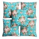 Spesifikasi Flanelade Sarung Bantal Sofa Motif Bunga Biru 5 Buah Lengkap