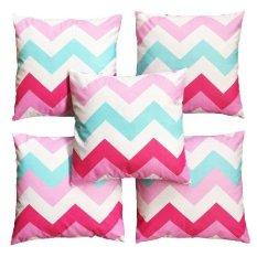 Ongkos Kirim Flanelade Sarung Bantal Sofa Motif Zigzag Pink 5 Buah Di North Sumatra