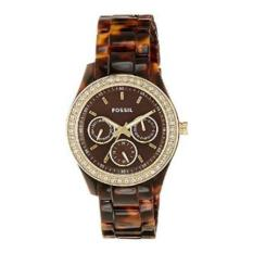 Harga Mode Fossil Stella Brown Dial Ss Tortoise Resin Multi Quartz Women Es2795 New