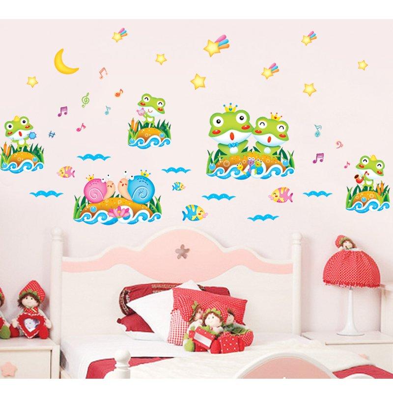 Frogs Vinyl Wall Decal PVC Rumah Sticker Rumah Dekorasi Kertas WallPaper Ruang Tamu Kamar Tidur Dapur Gambar Seni DIY Murals Girls Boys Kids Nursery Baby Playroom Decor