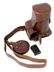 Full Protection Bottom Opening Versi Pelindung PU Leather Camera Case Bag dengan Desain Tripod Kompatibel untuk Canon EOS 70D dengan Belt Strap Belt dan Penyimpanan Kartu Case Dark Brown
