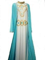 Ghaida' Collection Kaftan Rompi Kombinasi Light Blue and White