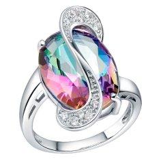 Hadiah Set 18 K Berlapis Emas Putih Wanita Perhiasan Set Blackhorse Rainbow Crystal Anting Kalung Cincin Set